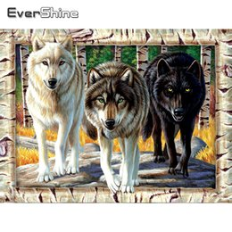 framed wolf wall decor Australia - wall art Diamond Embroidery Wolf Cross Stitch Mosaic Diamond Painting Animals 5D DIY Rhinestone Picture Home Decor