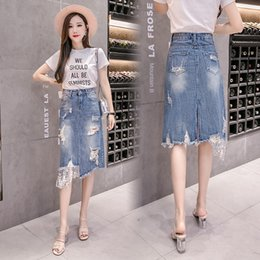 denim for children NZ - 4BHgD High waist denim skirt for children 2020 A- LINE DRESS tong qun tong qun new summer stitching sequins irregular sheath A- line skirt m