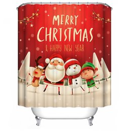 reindeer christmas suit NZ - Christmas Curtain Rug Snowman Mat Suit Santa Shower Slip Bell Cover Claus Toilet Snowflake Non Reindeer Set Merry Bathroom yxlKrx mx_home
