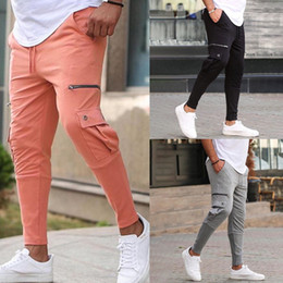 Wholesale new fashionable pants for sale – dress 6 style Pure Cotton New Men Joggers pants Fashionable Overalls Trousers Casual Pockets Mens Fitness Exercise pants