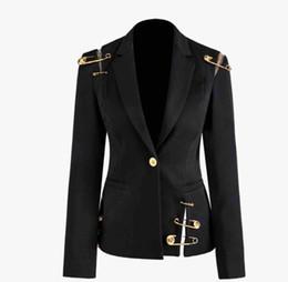 Wholesale slim suit jacket girl resale online – 2020 New big girls A suit Outwear women A buckle Black outwear spring ladies pins lapel long sleeve slim blazers outwear A4494