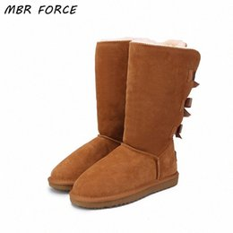 MBR FORCE 2018 Fashion Women Long Boots Genuine Cow Leather Snow Boots Bowknot Snow Warm High Winter US 3 13 Fringe Boots Boot Socks F EcHF#