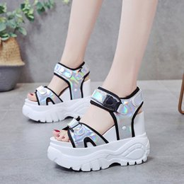 silver tie back hooks UK - 2020 Women Platform Sandals Muffin Super High Heels Bottom Chunky Student Height Increase Summer Beach Shoes Sandalias Mujer