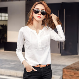 Discount t shirt fashion korea women Autumn Women Fashion Splice V-Neck tshirt Korea T Shirts Winter Casual Harajuku Bottoming Tshirt Ladies Solid Tee Tops S