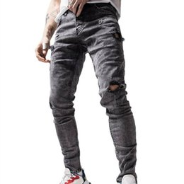 Wholesale jeans grey resale online – designer Mens Denim Jeans Hole Decorated Slim Fit Biker Casual Daily Pants Man Jeans Pockets Casual Grey Stretch Pencil Trousers