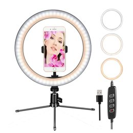 "lead phone holder UK - 10"" ring light dimmable table lamp self-timer ring light with tripod stand and mobile phone holder, leading camera ring light"