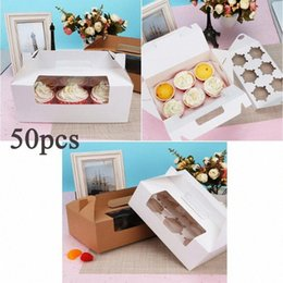 treats cupcakes UK - 8pcs 6 Cavity Cupcake Box Container Dessert Treat Holder Cup Cake Boxes And Packaging Boxes Portable Paper Containers Bakery G4yW#