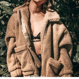 Wholesale women s camel color coats resale online - Autumn and winter women s new imitation Autumn and winter women s fur lamb wool camel color coat soft plush color cotton coat fur