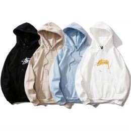 Wholesale stussy hoodie for sale – custom 2020 New B909 Stussy Seiko Embroidery and Velvet New Hoodie Casual fashion Black White Blue Khaki M XXL
