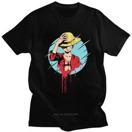 Wholesale luffy shirts online – design Streetwear Luffy One Piece Men Tshirt Soft Cotton Hip Hop Anime Tee O Neck Short Sleeve Fashion T shirt Harajuku T Shirt