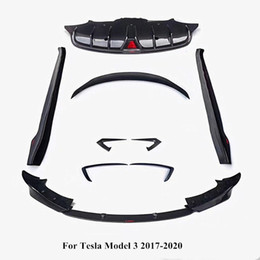 Wholesale Full set Body Kits Real Carbon fiber Front lip rear diffuser side skirt Back wing wind knife Fit for Tesla Model 3