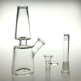 wholesale downstem bowl 2021 - 18cm Glass Water Bongs Dab Rig with 14mm Female Downstem 14mm Male Glass Bowl Thick Recycler Beaker Bong for Water Smoking