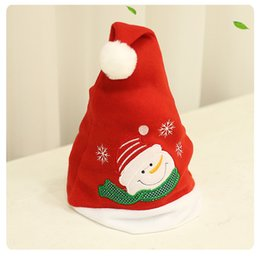 christmas santa hats wholesale Canada - Christmas Santa Claus pattern Hats Children Women Men Boys Girls Cap For Christmas Party Props Ornaments Decoration