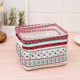 handle baskets wholesale UK - Fresh pastoral cotton linen with handle desktop toys snack storage basket Toy toy cosmetics remote control fabric storage basket