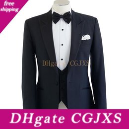 three piece suit for man style NZ - Navy Blue Groom Tuxedos For Groom Wear Peaked Lapel Classic Style Three Piece Custom Made Groomsmen Men Suits Jacket Pants Vest
