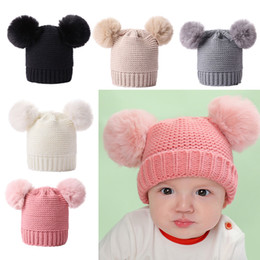 Newborn Baby Kids Girls Boys Winter Warm Knit Hat Furry Balls Pompom Solid Warm Cute Lovely Beanie Cap Gifts