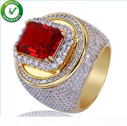 rings hops NZ - Hip Hop Jewelry Mens Gold Rings Iced Out Luxury Designer Micro Paved CZ Red Diamond Bling Rock Finger Ring Engagement Wedding Accessories