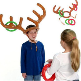 child reindeer antlers UK - 200pcs Funny Reindeer Antler Hat Ring Toss Christmas Holiday Party Game Supplies Toy Children Kids Christmas Toys