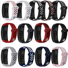 gear fit watches NZ - Mesh Hole Loops Dual Colors Replacement Soft Silicone Wrist Bracelet Sport Band Smart Watch Strap For Samsung Gear Fit 2 SM-R360