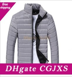 Wholesale padded winter coats sale resale online - High Quality Mens Spring Winter Down Jackets Thin Slim Fit Coats Cotton Padded Solid Color Long Sleeve Jackets Outerwear For Sale