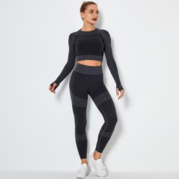 Discount yoga shorts outfit Autunm winter Fashion Designer Womens Yoga Suit Sportwear Tracksuits Fitness Sports two Piece set 2Pcs Leggings long sle