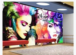 color 3d painting NZ - Photo Customized Mural Wallpaper Color Hand Painted Abstract Graffiti Beauty Art Background Wall paper For Bedroom Walls 3d