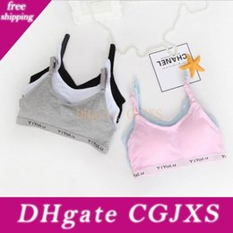 Wholesale bras for children for sale - Group buy 100pcs Teenage Girl Underwear Solid Color Cotton Bras Wireless Breathable Training Bra For Girls Child Bra Padded Brassiere