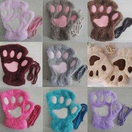 Katze-Plüsch-Tatzen-Handschuh Neuheit Halloween weiche Frottee Dame halber Handschuhe Handschuh Winter-weicher Plüsch-halber Finger-Handschuhe KKA8060 im Angebot