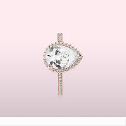 Designer 18K Rose gold Tear drop CZ Diamond RING with Original Box for Pandora 925 Silver Wedding Rings Set Engagement Jewelry