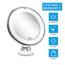 lighted makeup mirror with magnification NZ - Makeup Mirror with Light 1X 10X Magnification Double Sided 360 Degree Rotation LED Vanity Mirror Chrome Finished Touch Control Battery-Power