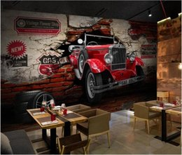 vintage car prints NZ - Custom Mural 3d Photo Wallpaper Vintage Classic Car Broken Wall Home Decor 3d Wall Murals Wallpaper For Walls 3 D Living Room Hd Image Pvhy#