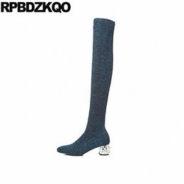 over knit sock UK - knit blue shoes thigh high boots for plus size women sock rhinestone chunky 41 ladies pearl 10 stretch over the knee slim big z3AO#