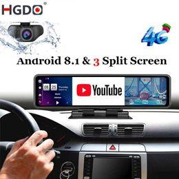 HGDO 12 '' Araba DVR Dashboard Kamera Android 8.1 4g ADAS Dikiz Aynası Video Kaydedici FHD 1080 P WiFi GPS Dash Cam Registrator