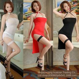 Wholesale sexy tight silk dresses resale online – Jin Rou Ice Silk thin transparent tight skirt skirt high split Tight dress dress sexy underwear