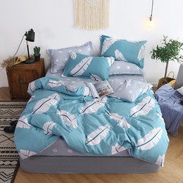 jacquard bedding sets 2021 - BEST.WENSD 47 Wholesa Simple plaid-Sky blue pink hello kity 3 4pc bedding set king comforter set duvet cover bed linen b