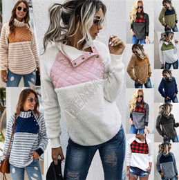Wholesale check hoodie resale online - Women Fleece Sweatshirts Buffalo Check Sherpa Pullover Trendy Oblique Button Collar Warm Coats Winter Patchwork Hoodies Jacket D91710