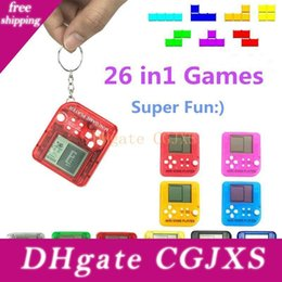 Wholesale games on consoles online – design 2019 Portable Mini Tetris Game Console Keychain Lcd Handheld Game Players Children Educational Electronic Toys Anti Stress Keychain