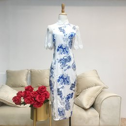 Wholesale sexy women blue chinese dresses for sale – plus size ygCZu summer mid length lace sexy Chinese lace cheongsam style blue and white porcelain stand collar cheongsam improved dress for women