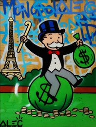 eiffel tower canvas prints 2021 - Alec Monopoly Eiffel Tower Money Bag Home Decor Handpainted &HD Print Oil Painting On Canvas Wall Art Canvas Pictures 20