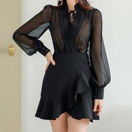 Wholesale dress korean chiffon fashion woman for sale – plus size 2020 new Korean style socialite Women s new women s dress fashion slim chiffon stitching lotus leaf dress for women g6XJ