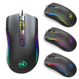 game programming Australia - New Macro Programming RGB Light-Emitting Game Mouse E-Sports Wired Mouse 6-Speed Flap Adjustable Height 7200 Pi