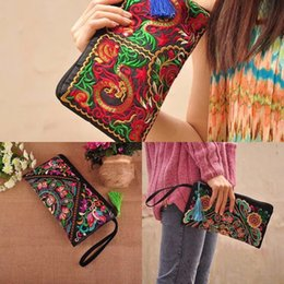 fashion embroidered handbag ethnic UK - New ethnic style coin purse embroidered hand wallet National wallet handbag fashion characteristic embroidered women's bag M8056