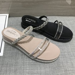 38 diamond Australia - X5q7i Women's sandals with diamonds 2020 Summer new Korean style flat-bottomed versatile fashion Sandals and Coat slippers thick-soled outer