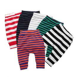 striped pink leggings NZ - Elastic Waist Baby Pants Cotton Baby Boy Clothes Striped Loose Newborn Girl Pants Summer Infant Girls Leggings 6-24 Months MX200811