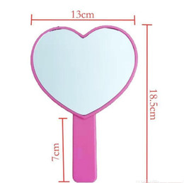 heart shaped makeup mirrors Australia - DHL Heart Shaped Travel Handheld Mirror, Cosmetic Hand Mirror with Handle Makeup Mirrors Cute love shape Cosmetic