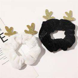 CUTE Pleuche Scrunchies Christmas Elk Horn Antlers Scrunchy Hair Rope Elastic Hair Tie Ring Designers Ponytail Holder Girls Hairbands D91701 on Sale