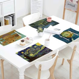 print tablecloths wholesale Australia - Van Gogh Printing Table Napkins Star Moon Night Iris Flower Sunflower Party Decor Tablecloth Table Skirt Kitchen Decor Placemat T200618