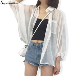Wholesale boyfriend cardigans for sale - Group buy Boyfriend Kimono mujer Summer Cardigan Women Transparent White Sexy Blouses Chiffon Beach Shirts Sunproof Cardigans Blusas CX200821