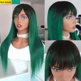 Discount dark brown human hair lace wigs Green Ombre Human Hair Wigs With Bangs For Black Women Full Machine Made Peruvian Remy Straight Glueless Wig Colored 1B