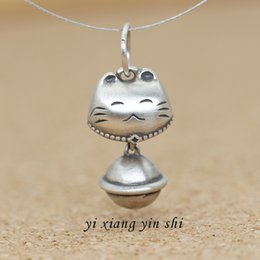 silver bracelet bells Australia - Seiko 925 sterling silver jewelry diy Thai silver accessories lucky cat red Pendant bracelet Diy bracelet rope Bell pendant